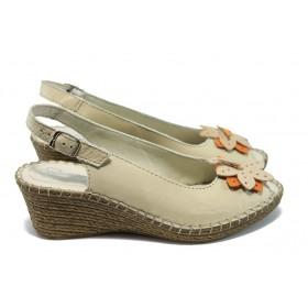 Дамски сандали - естествена кожа - бежови - EO-6322