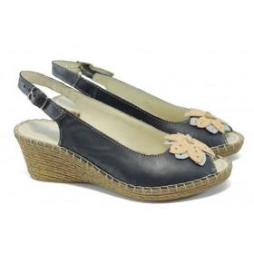 Дамски сандали - естествена кожа - сини - EO-6323