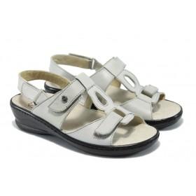 Дамски сандали - естествена кожа - сиви - EO-6327