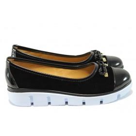 Дамски обувки на платформа - висококачествен еко-велур - черни - EO-6335