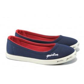 Равни дамски обувки - висококачествен текстилен материал - сини - EO-6338