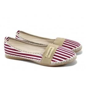 Равни дамски обувки - висококачествен текстилен материал - червени - EO-6339