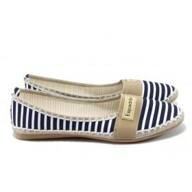 Равни дамски обувки - висококачествен текстилен материал - сини - EO-6344