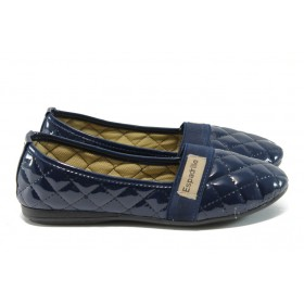 Равни дамски обувки - еко кожа-лак - сини - EO-6342