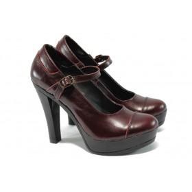 Дамски обувки на висок ток - естествена кожа - бордо - EO-6357