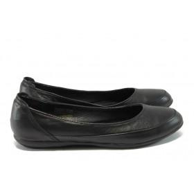 Равни дамски обувки - естествена кожа - черни - EO-8490