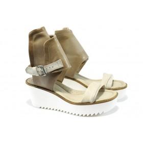 Дамски сандали - естествена кожа - бежови - EO-6394