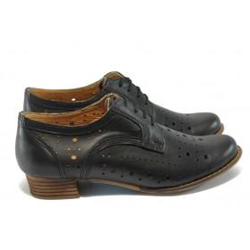 Дамски обувки на среден ток - естествена кожа с перфорация - черни - EO-6389