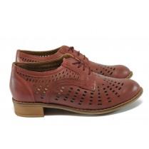Дамски обувки на среден ток - естествена кожа с перфорация - бордо - EO-6388