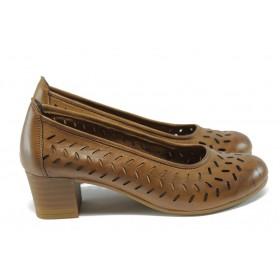 Дамски обувки на среден ток - естествена кожа с перфорация - кафяви - EO-6387