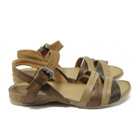 Дамски сандали - естествена кожа - кафяви - EO-6385