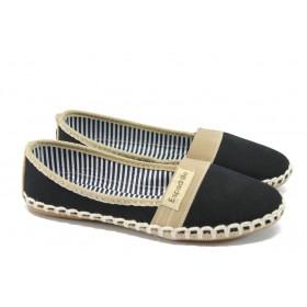 Равни дамски обувки - висококачествен текстилен материал - черни - EO-6402