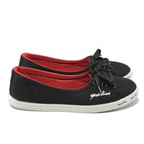Равни дамски обувки - висококачествен текстилен материал - черни - EO-6403