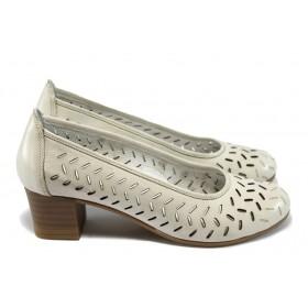 Дамски обувки на среден ток - естествена кожа с перфорация - бели - EO-6404