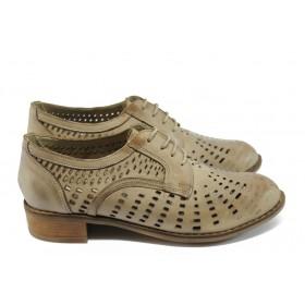 Дамски обувки на среден ток - естествена кожа с перфорация - светлокафяв - EO-6406