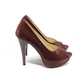 Дамски обувки на висок ток - висококачествена еко-кожа - бордо - EO-6412