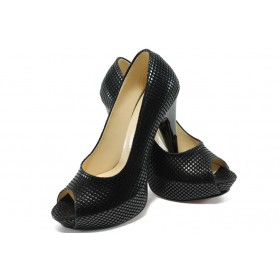 Дамски обувки на висок ток - висококачествена еко-кожа - черни - EO-6411