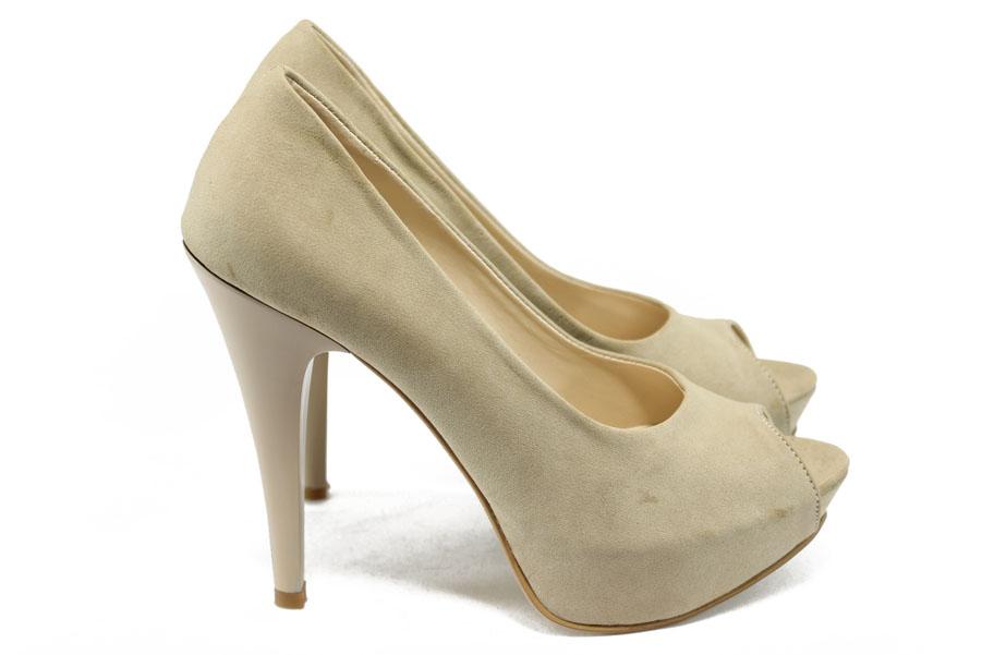 Дамски обувки на висок ток - висококачествена еко-кожа - бежови - EO-6413