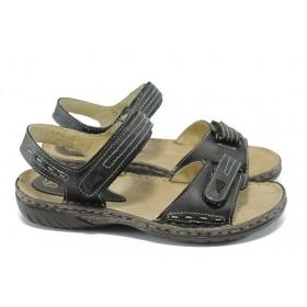 Дамски сандали - естествена кожа - черни - EO-6407