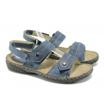 Дамски сандали - естествена кожа - сини - EO-6414