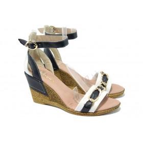 Дамски сандали - естествена кожа - сини - EO-6416