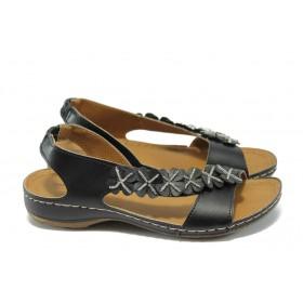 Дамски сандали - висококачествена еко-кожа - черни - EO-6475