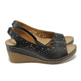 Дамски сандали - висококачествена еко-кожа - черни - EO-6476