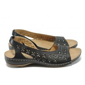 Дамски сандали - висококачествена еко-кожа - черни - EO-6477