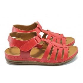 Дамски сандали - висококачествена еко-кожа - червени - EO-6478