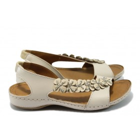 Дамски сандали - висококачествена еко-кожа - бежови - EO-6482