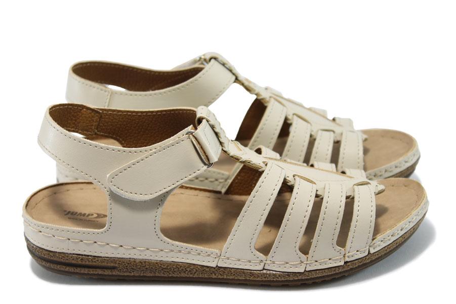 Дамски сандали - висококачествена еко-кожа - бежови - EO-6483