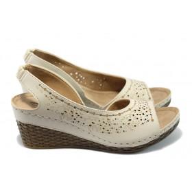 Дамски сандали - висококачествена еко-кожа - бежови - EO-6484