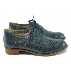 Дамски обувки на среден ток - естествена кожа с перфорация - сини - EO-6480
