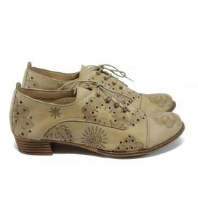 Дамски обувки на среден ток - естествена кожа с перфорация - бежови - EO-6481