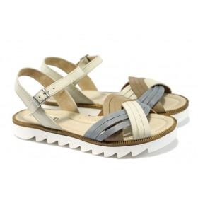 Дамски сандали - естествена кожа - бежови - EO-6488