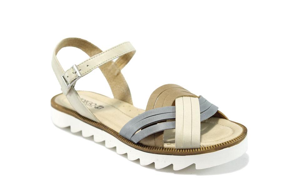 73cd41419a2 Дамски сандали - естествена кожа - бежови - EO-6488