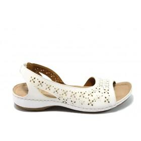Дамски сандали - висококачествена еко-кожа - бели - EO-6487