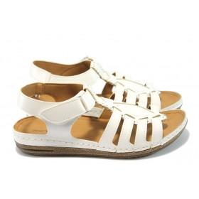 Дамски сандали - висококачествена еко-кожа - бели - EO-6486