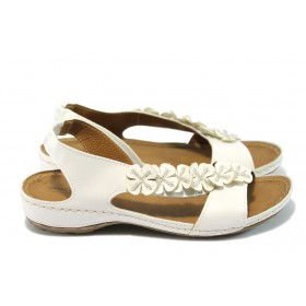 Дамски сандали - висококачествена еко-кожа - бели - EO-6485