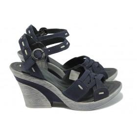 Дамски сандали - естествена кожа - тъмносин - EO-6496