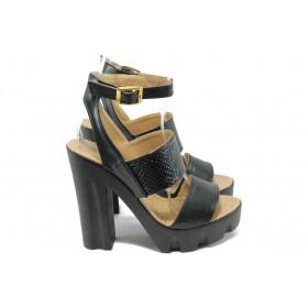 Дамски сандали - висококачествена еко-кожа - черни - EO-6495
