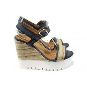 Дамски сандали - висококачествен текстилен материал - сини - EO-6504