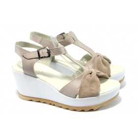 Дамски сандали - естествена кожа - розови - EO-6506