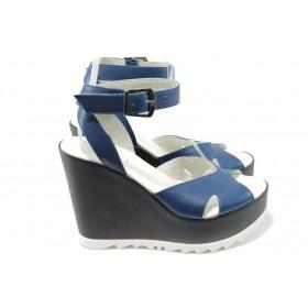 Дамски сандали - естествена кожа - сини - EO-6503