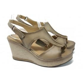 Дамски сандали - висококачествена еко-кожа - бежови - EO-6494