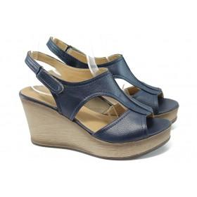 Дамски сандали - висококачествена еко-кожа - сини - EO-6493