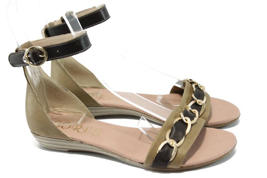 Дамски сандали - естествена кожа - бежови - EO-6507