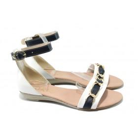 Дамски сандали - естествена кожа - бели - EO-6508