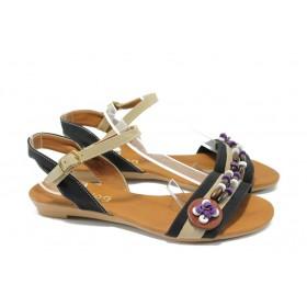 Дамски сандали - висококачествена еко-кожа - черни - EO-6499