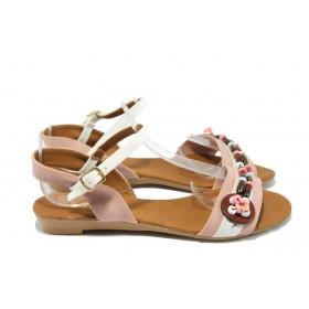 Дамски сандали - висококачествена еко-кожа - розови - EO-6500